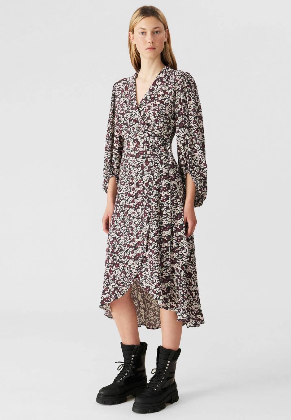 Ganni Printed Crepe Wrap Dress