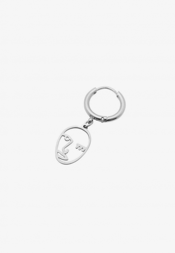 Wos Face Earring Silver