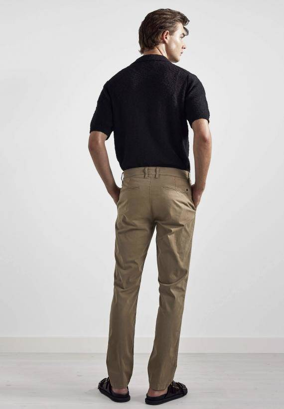 NN07 Marco 1400 Slim Cotton Chino Green Stone