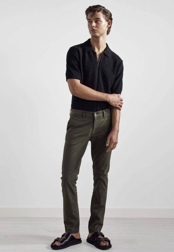 NN07 Marco 1400 Slim Cotton Chino Army