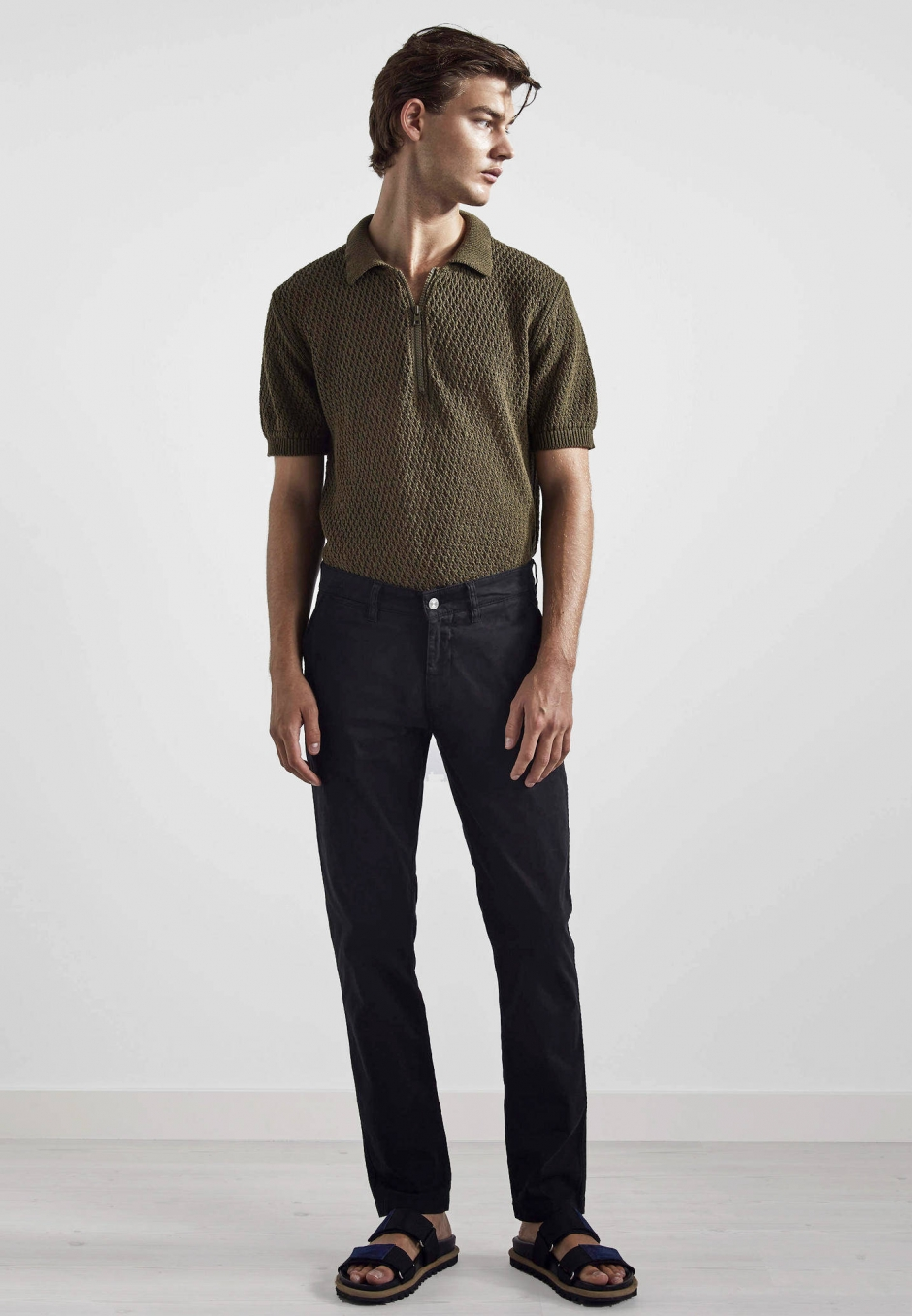 NN07 Marco 1400 Slim Cotton Chino Black