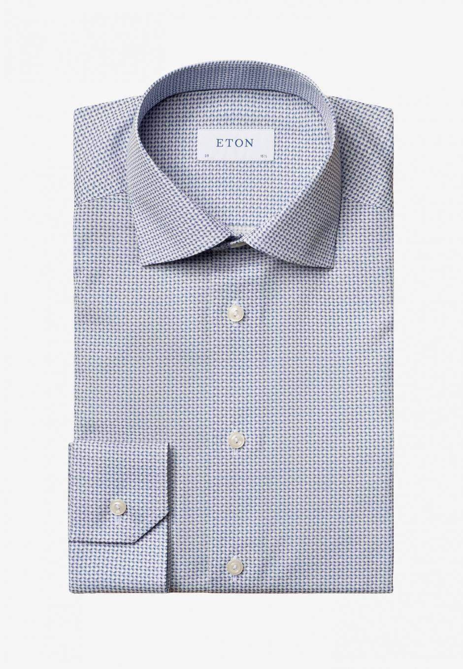Eton Contemporary Fit Blåmönstrad