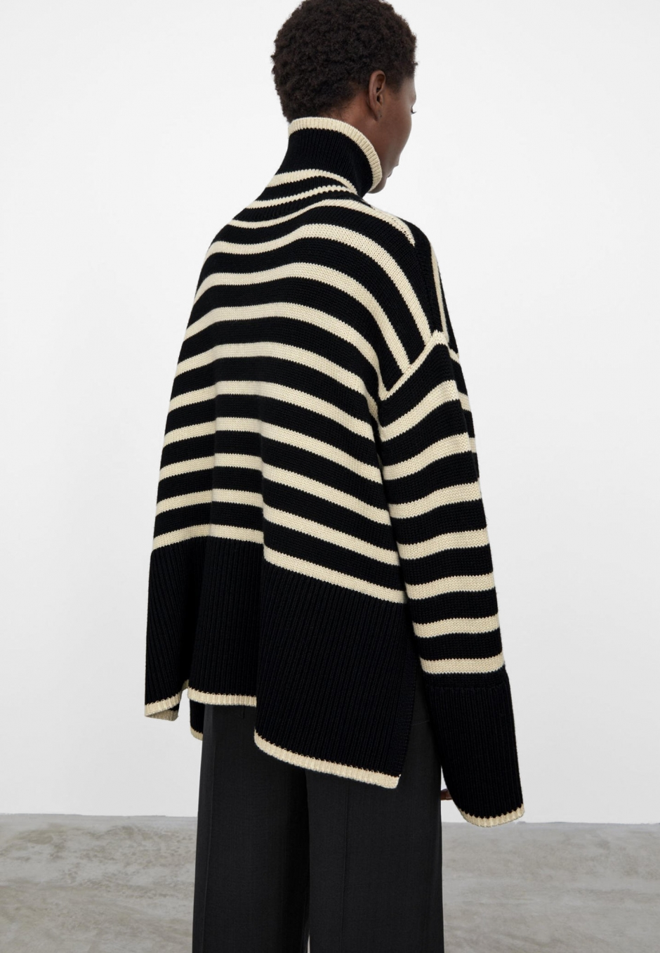Totême Signature Stripe Turtleneck Black