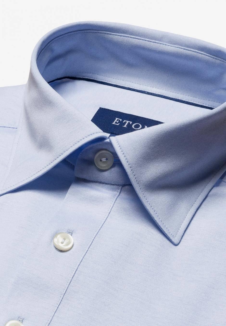 Eton Slim Fit Jersey Ljusblå