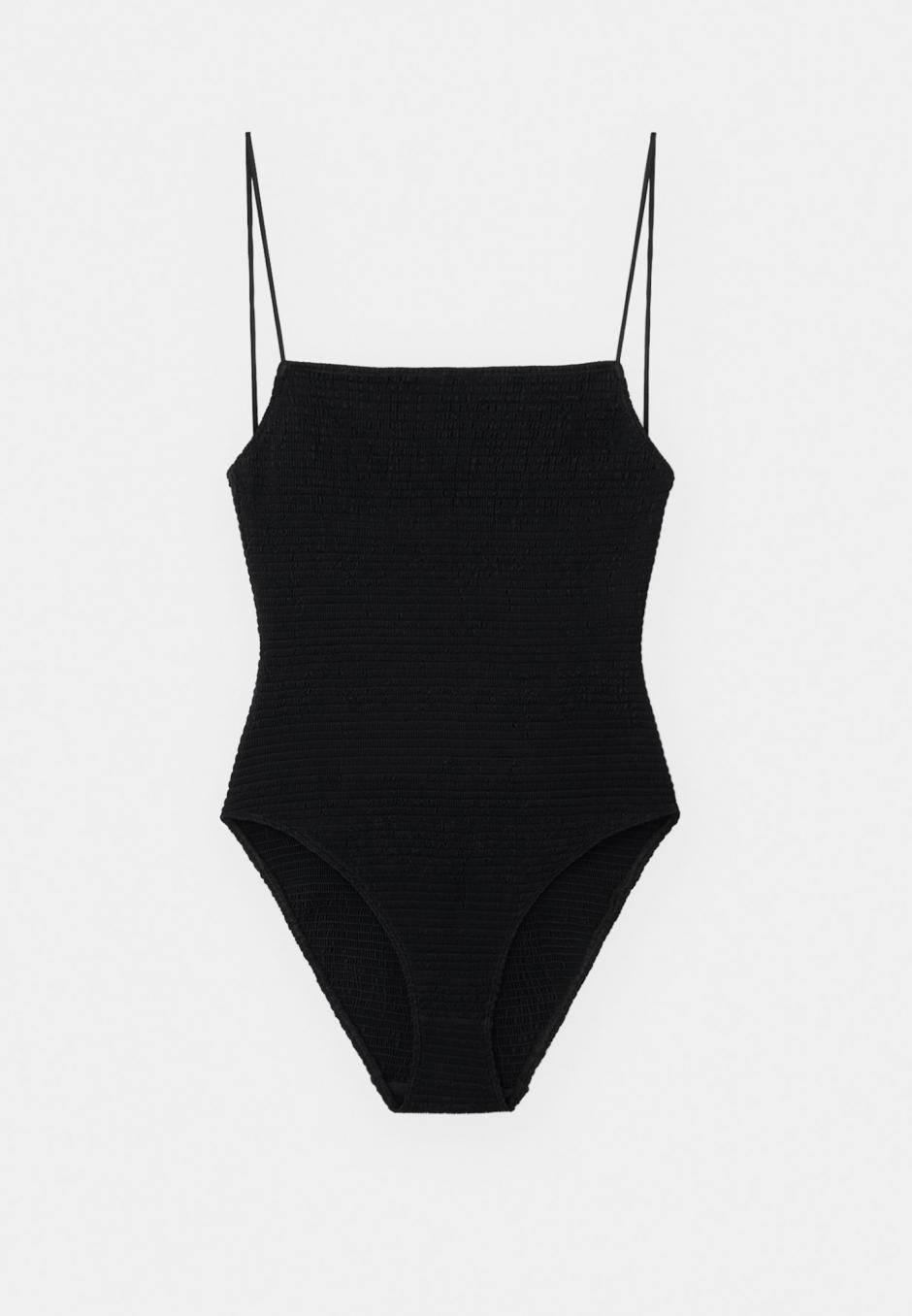Totême Smocked Swimsuit Black