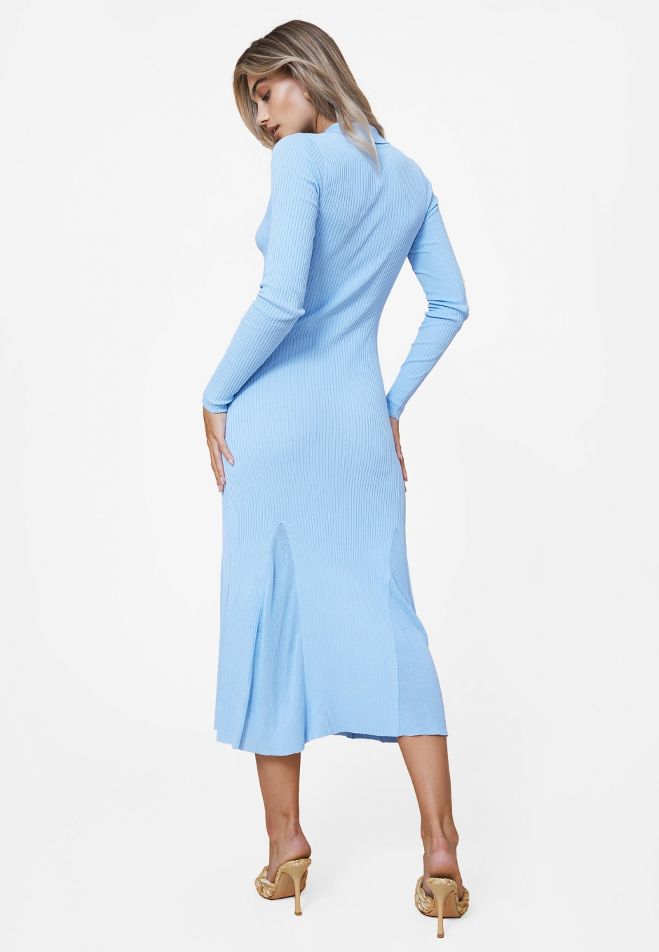 Adoore Collar Knitted Dress Blue