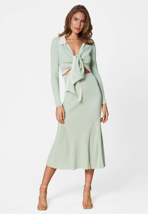 Adoore Knitted Riviera Dress Pistage Green