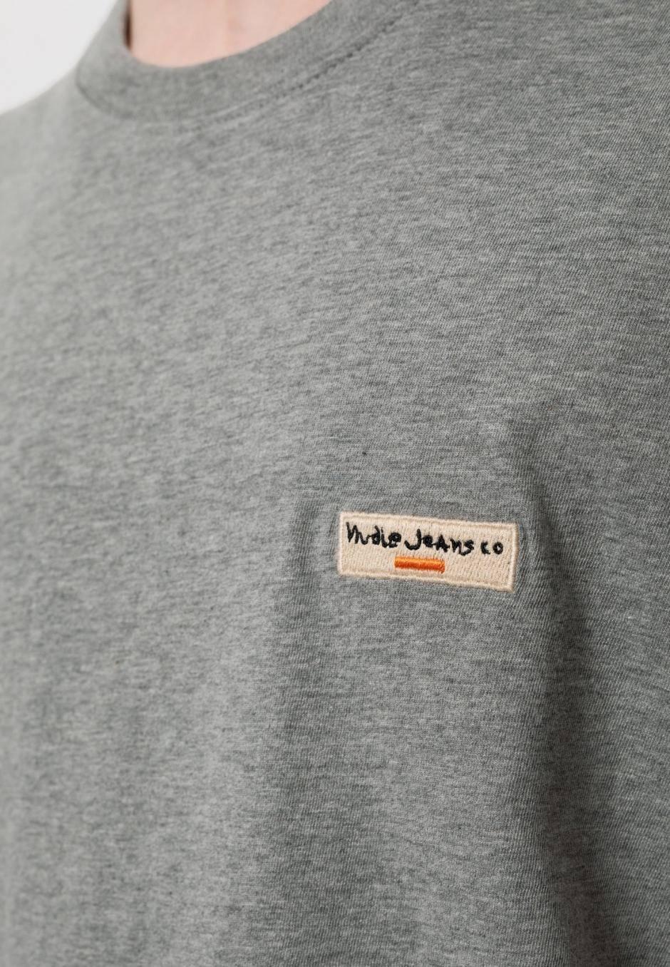 Nudie Jeans Daniel Logo Tee Greymelange