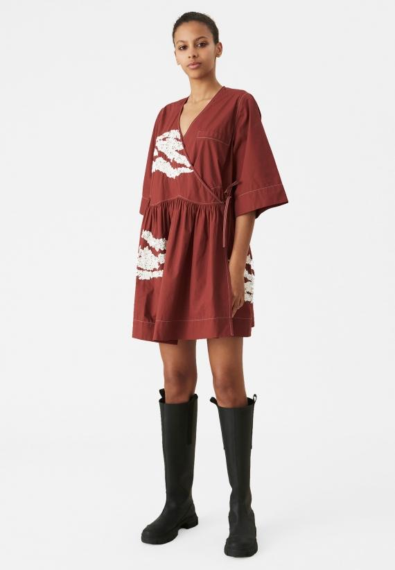 Ganni Embellished Oversized Wrap Mini Dress
