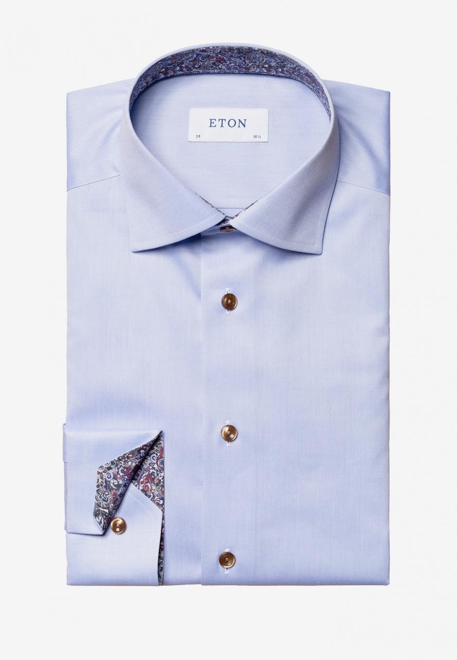 Eton Slim Fit Ljusblå Twill