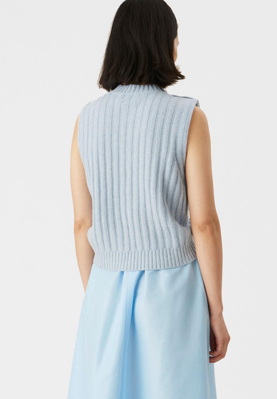 Ganni Light Blue Recycled Wool Vest