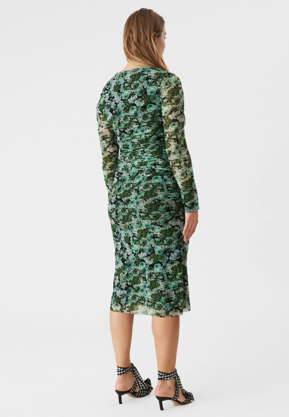 Ganni Green Floral Mesh Ruched Midi Dress