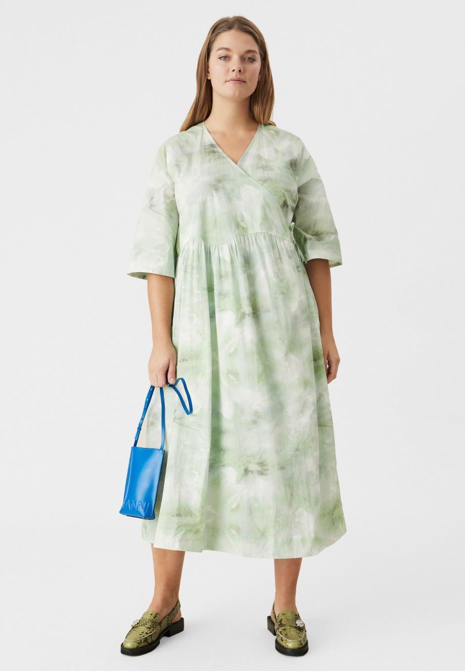 Ganni Cotton Poplin Boxy Tent Midi Dress