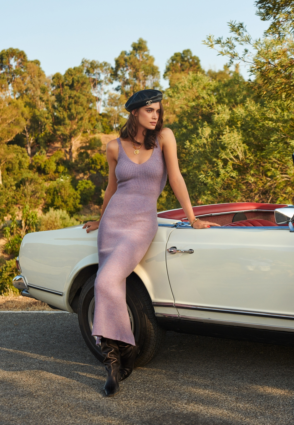 Adoore Knitted Slip Dress Lilac