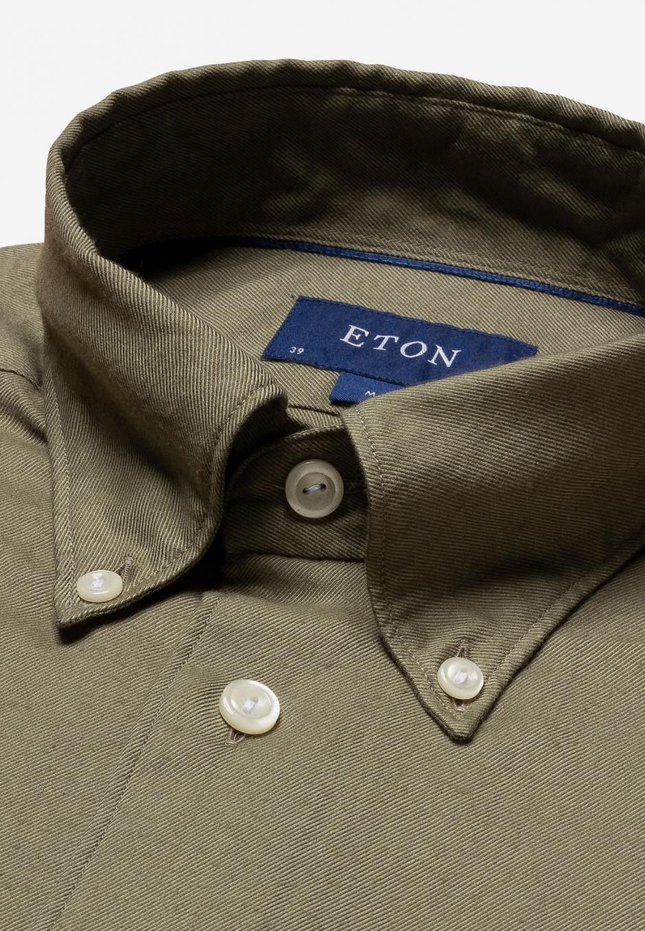 Eton Slim Fit Grön Cotton & Tencel