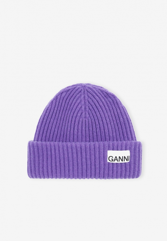 Ganni Recycled Wool Beanie Persian Violet