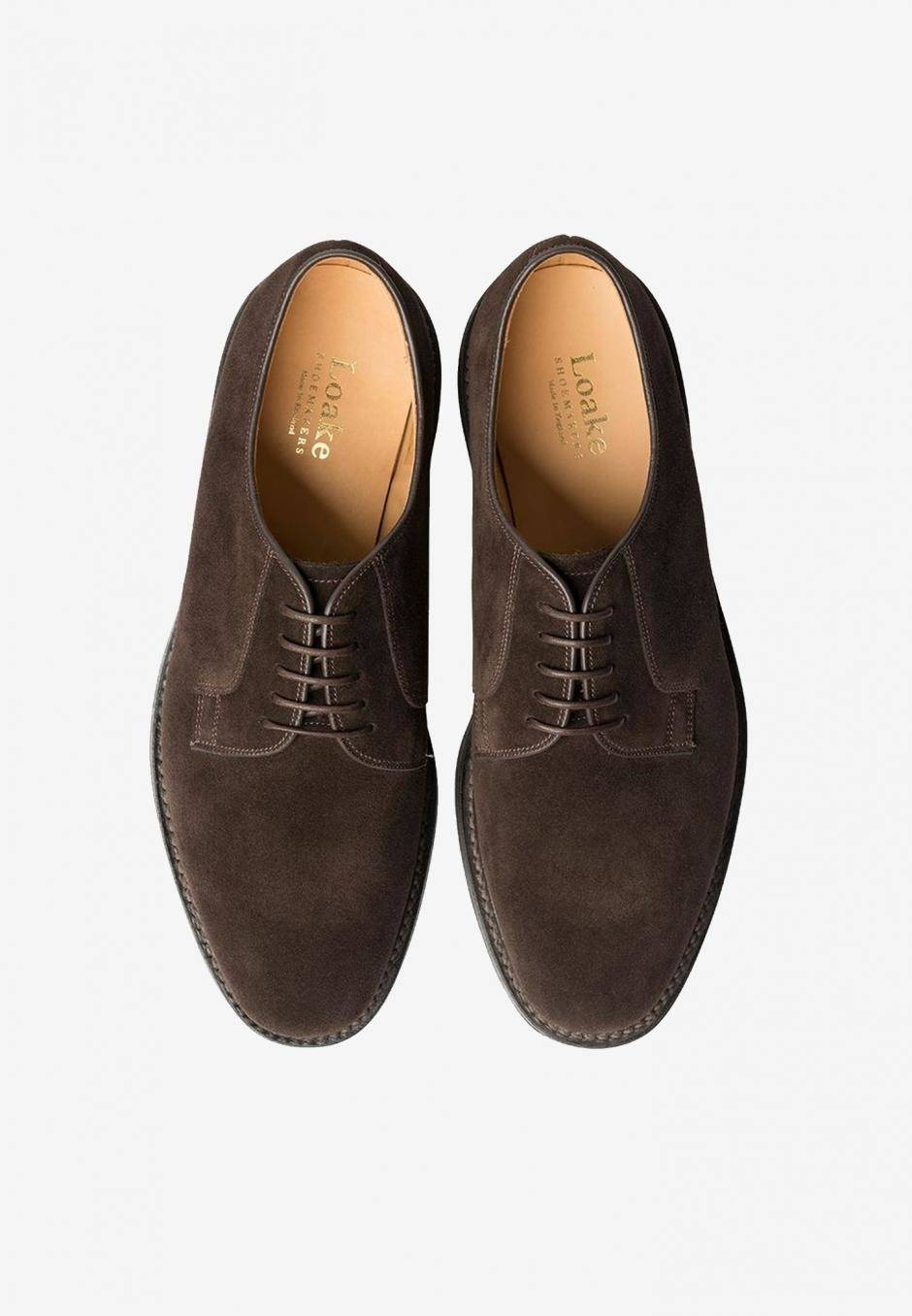 Loake Plain Derby Dark Brown Suede
